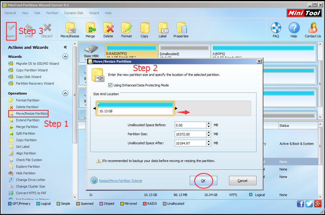 how to change partition size