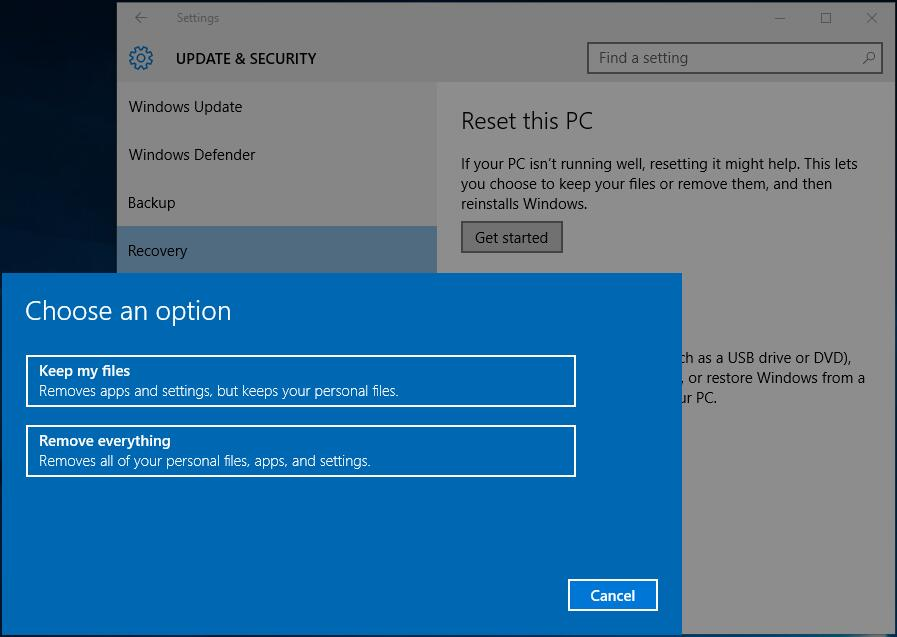 reset windows 10 laptop from boot